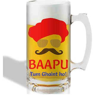 Print Operas Printed Designer Beer mugs of 0.5 quart and Premium Glossy Finish taransparent - Bappu tum ghaint ho