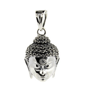 Be You Contemporary Gautam Budha Oxidised Plated Sterling Silver Locket