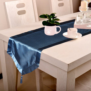 Lushomes Contemporary Navy Blue Stripped Runner with a Hanging Tussel (16 x 72) - Torantina Collection