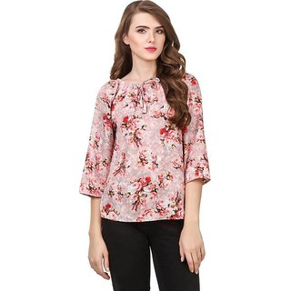 Amiable Look Casual 3/4th Sleeve Printed Women Red Top