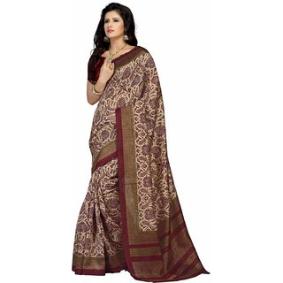 Meia Maroon Cotton Printed Saree With Blouse