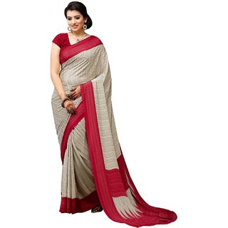 Florence Beige Crepe Printed Saree With Blouse