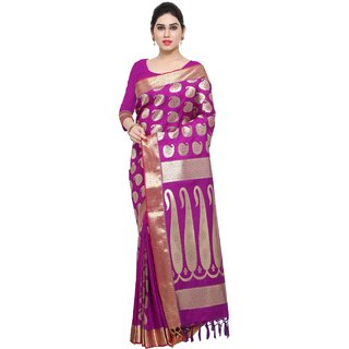 Florence Purple Art Silk Printed Saree With Blouse