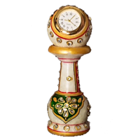 Hand Painted Marble Pillar Clock