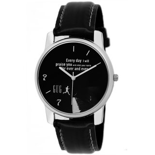 GUG G-02 Black Silver Designed Analogue Wrist Watch