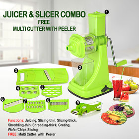 SRK Standard Kitchen Combo Plastic Fruit Juicer With 6 In 1 Slicer and Multi Veg Cutter-Green Set of 3