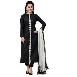 Kesu Fashion Women's Plain and Solid Un-stitched Salwar Suits / Dress Materials (Banglori Silk FabricBlack ColorZHKTN1003)