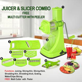 SRK Standard Kitchen Combo Plastic Fruit Juicer With 6 In 1 Slicer and Multi Veg Cutter-Green Set of 3