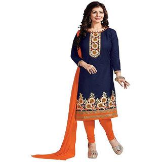 9c490e2fcb Kesu Fashion Women's Embroidered Un-stitched Salwar Suits / Dress Materials  (Cotton FabricBlue ColorZHBD1001)