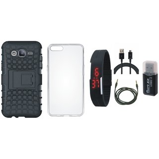 Redmi 4 Shockproof Tough Armour Defender Case with Memory Card Reader, Silicon Back Cover, Digital Watch, USB Cable and AUX Cable