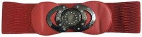 Wide Elastic Stretch Waist Belt for Girls and Women -Red (Waist - 26 -35)