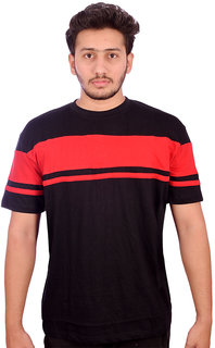 Fashion Degree's Red Strips Black Color Round Neck Half Sleeves T-shirt