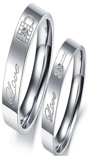 SILVERISH 92.5 Silver Couple Band Platinum Plated Silver Ring Set SCBR186-P