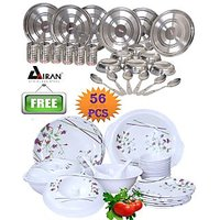 Airan 24 Pcs Stainless Steel Dinner Set Free 32 Pcs Melamine Dinner Set