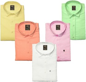 Freaky Pack Of 5 Men's Plain Casual Slimfit Poly-Cotton Shirts