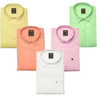 Freaky Plain Multicolor 100 Cotton Regular Collar Casual Slim Fit Shirts For Men - Pack Of 5