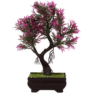 Adaspo Artificial plant with hot pink/ green leaves In melamine Pot (25 Cm)