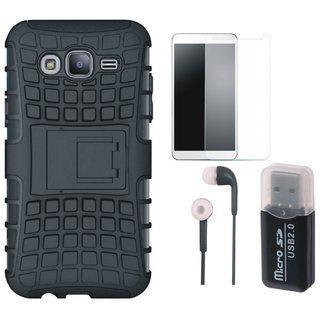 Vivo Y55L Shockproof Tough Defender Cover with Memory Card Reader, Earphones and Tempered Glass