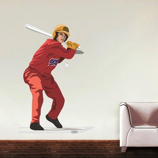 Wall Sticker Baseball Player Design (Cover Area :- 22 x 32 inch)