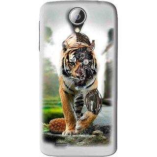Snooky Printed Mechanical Lion Mobile Back Cover For Lenovo S820 - Grey