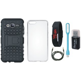 Redmi Y1 Defender Tough Hybrid Shockproof Cover with Memory Card Reader, Silicon Back Cover, Digital Watch, USB LED Light and AUX Cable