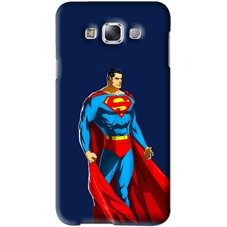 Snooky Printed Super Hero Mobile Back Cover For Samsung Galaxy E5 - Blue