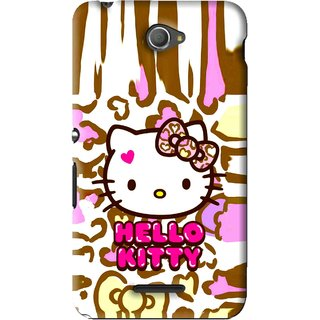 Snooky Printed Cute Kitty Mobile Back Cover For Sony Xperia E4 - Multi
