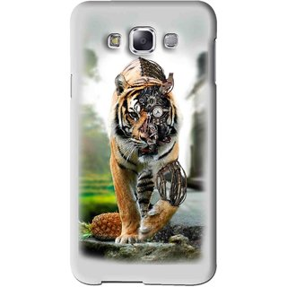 Snooky Printed Mechanical Lion Mobile Back Cover For Samsung Galaxy E5 - Grey