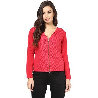 Abiti Bella Women's Red Zipper Lace Top