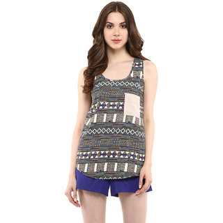 Abiti Bella Women's Digital tribal print top with pocket