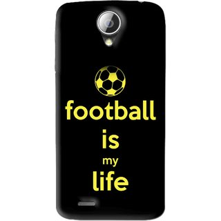 Snooky Printed Football Is Life Mobile Back Cover For Lenovo A830 - Black