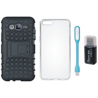 Vivo Y69 Shockproof Tough Armour Defender Case with Memory Card Reader, Silicon Back Cover, USB LED Light