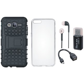 Vivo Y69 Shockproof Kick Stand Defender Back Cover with Memory Card Reader, Silicon Back Cover, Earphones and OTG Cable