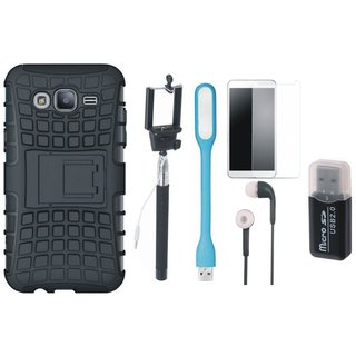 Vivo Y69 Shockproof Kick Stand Defender Back Cover with Memory Card Reader, Free Selfie Stick, Tempered Glass, Earphones and LED Light