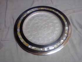 Aluminum round plate, inlay colour resin