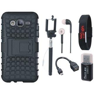 Vivo V7 Defender Tough Hybrid Shockproof Cover with Memory Card Reader, Selfie Stick, Digtal Watch, Earphones and OTG Cable