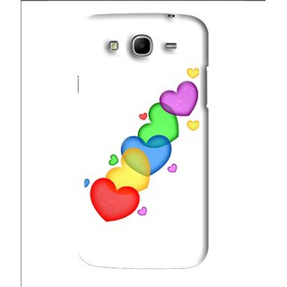 Snooky Printed Colorfull Hearts Mobile Back Cover For Samsung Galaxy Mega 5.8 - White