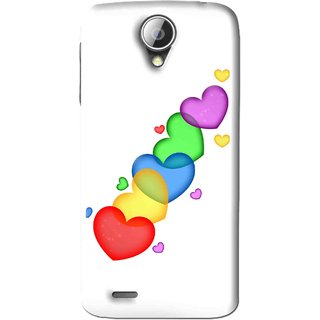 Snooky Printed Colorfull Hearts Mobile Back Cover For Lenovo A830 - White