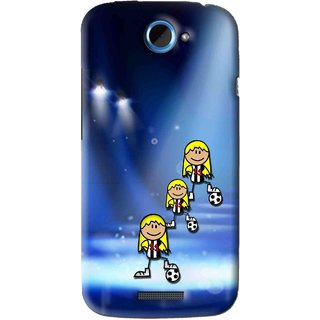 Snooky Printed Girls On Top Mobile Back Cover For HTC One S - Blue