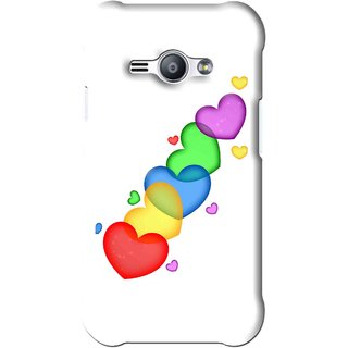 Snooky Printed Colorfull Hearts Mobile Back Cover For Samsung Galaxy Ace J1 - White