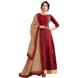 Women's Maroon heavy Banglori satin  Semi stiched anarkali gown 141