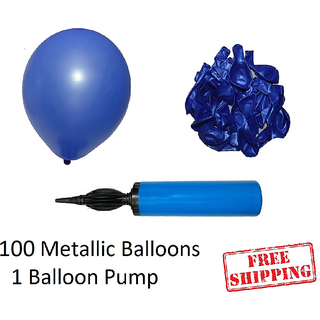 100 pieces Blue Metallic Balloons with Balloon Pump for Birthday decorations
