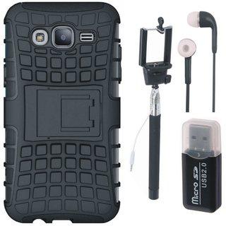 Vivo V7 Shockproof Kick Stand Defender Back Cover with Memory Card Reader, Selfie Stick and Earphones