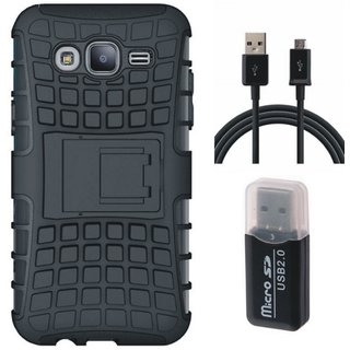 Vivo V7 Shockproof Kick Stand Defender Back Cover with Memory Card Reader, USB Cable