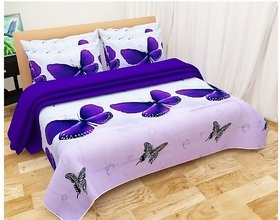 Reet Multicolor Textile Butterfly 3D Printed Polycotton Double Bed Sheet With 2 Pillow Covers