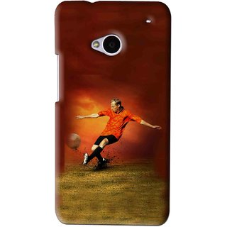 Snooky Printed Football Mania Mobile Back Cover For HTC One M7 - Brown