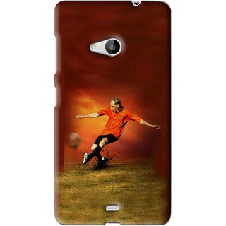 Snooky Printed Football Mania Mobile Back Cover For Microsoft Lumia 535 - Brown