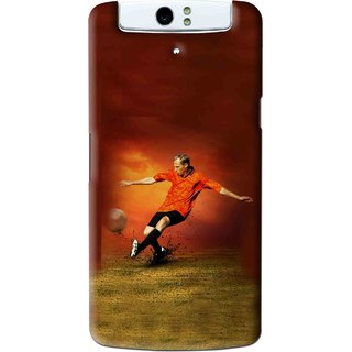 Snooky Printed Football Mania Mobile Back Cover For Oppo N1 - Brown