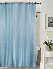 Lushomes thick striped Light Blue water repellent shower curtain with 12 eyelets and 12 C-hooks (72 x 80 or 185 x 205 cms)