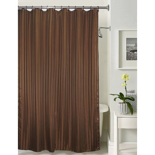 Lushomes thick striped Dark brown water repellent shower curtain with 12 eyelets and 12 C-hooks (72 x 80 or 185 x 205 cms)